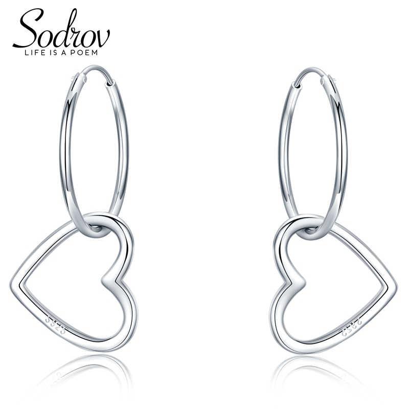 6c2da1536 SODROV New 100% 925 Sterling Silver Earrings Heart Hoop Earrings for Women  Fine Jewelry Brincos