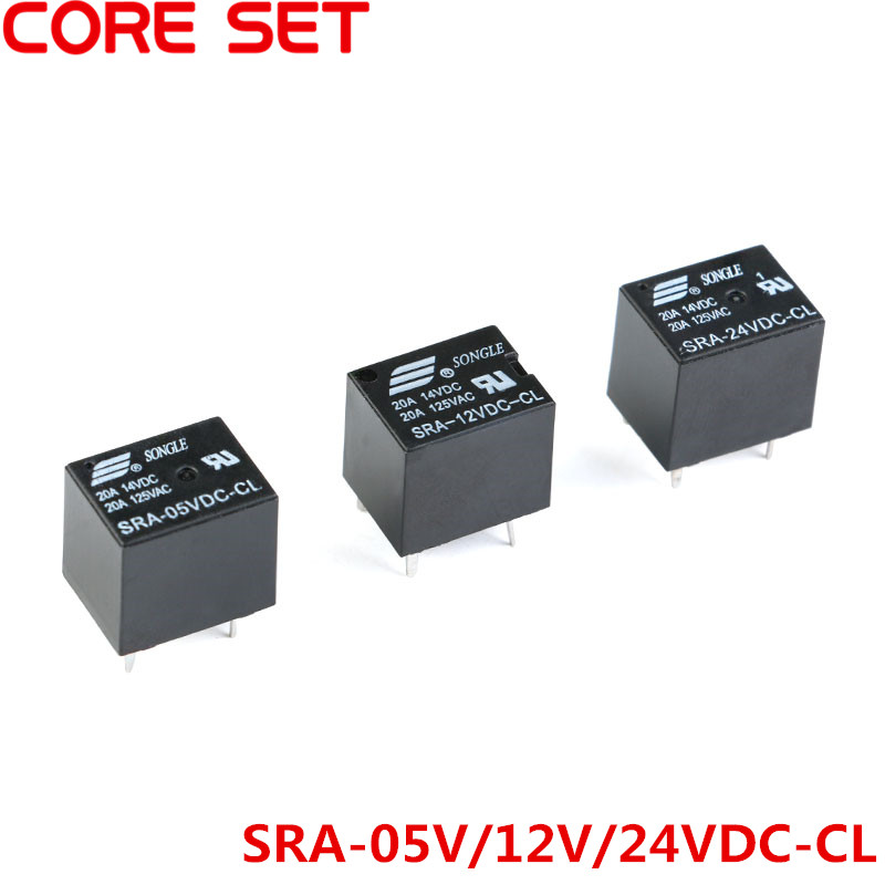 5Pcs DC 5V 12V 24V 20A Power Relay SRA-05VDC-CL SRA-12VDC-CL SRA-24VDC-CL PCB Type 5PIN T74 Black Automobile Relays