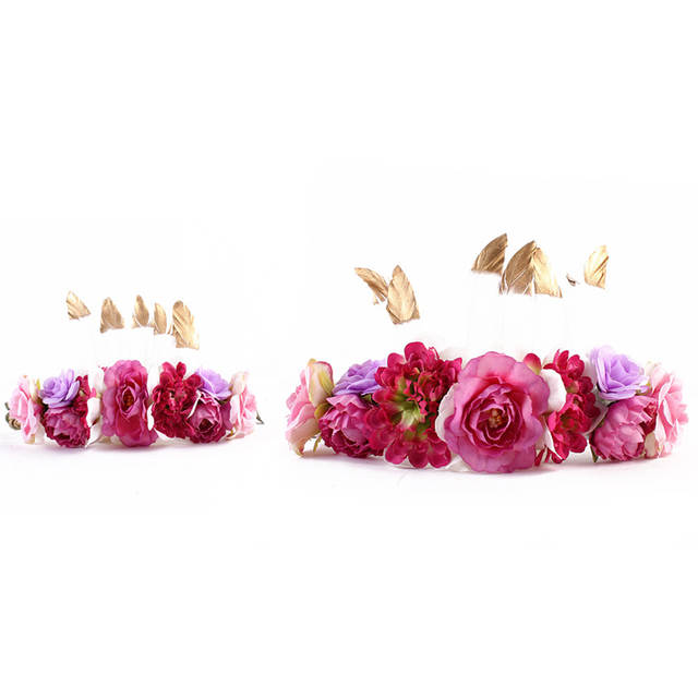 402ed99138d placeholder Feather Flower Crown For Women Girl Mom and Me Hair Bands 2018 New  Bebe Headbands Mother
