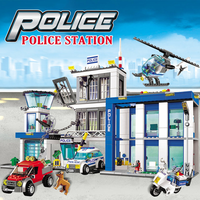 Police Headquarters Building Blocks Compatible City Police Car Helicopter Figures Model 890PCS Bricks Toys For Boys