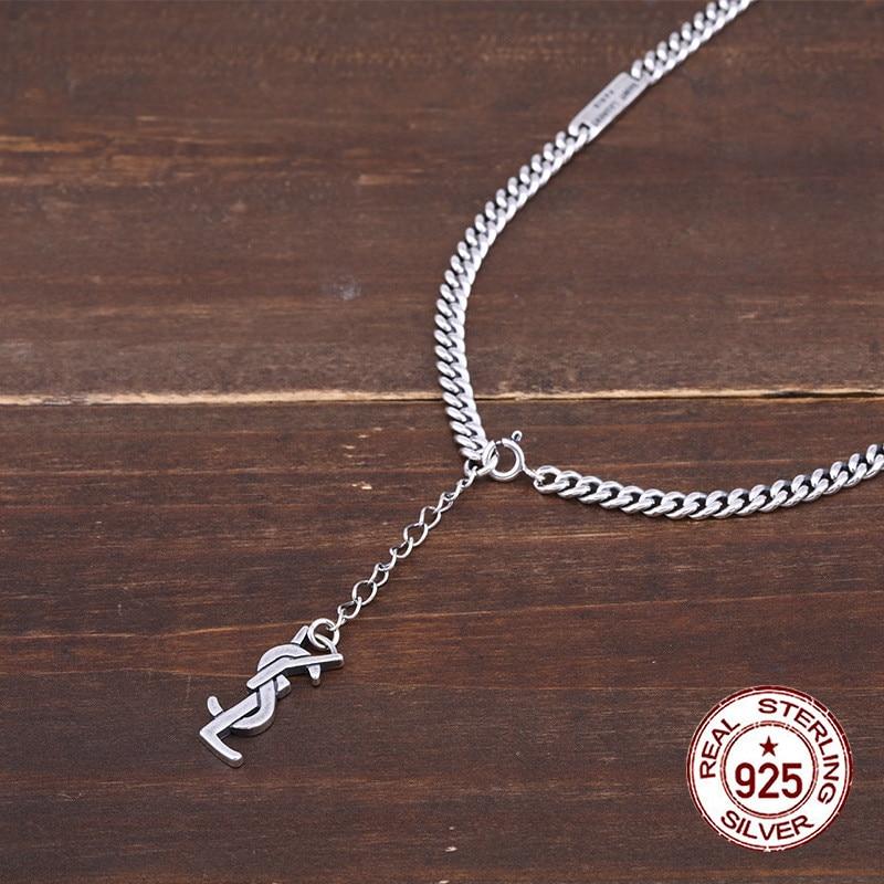 925 collier en argent sterling personnalité mode populaire lettre chaîne punk hip-hop style pour envoyer des cadeaux pour les amoureux