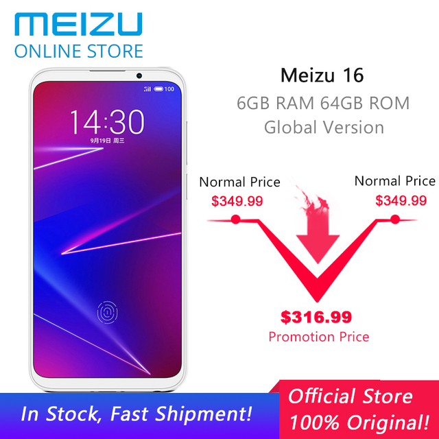 "Meizu 16 6GB RAM 64GB ROM Global Version phone Snapdragon 710 Octa Core 6.0"" FHD Screen Dual Rear Camera In-screen fingerprint"