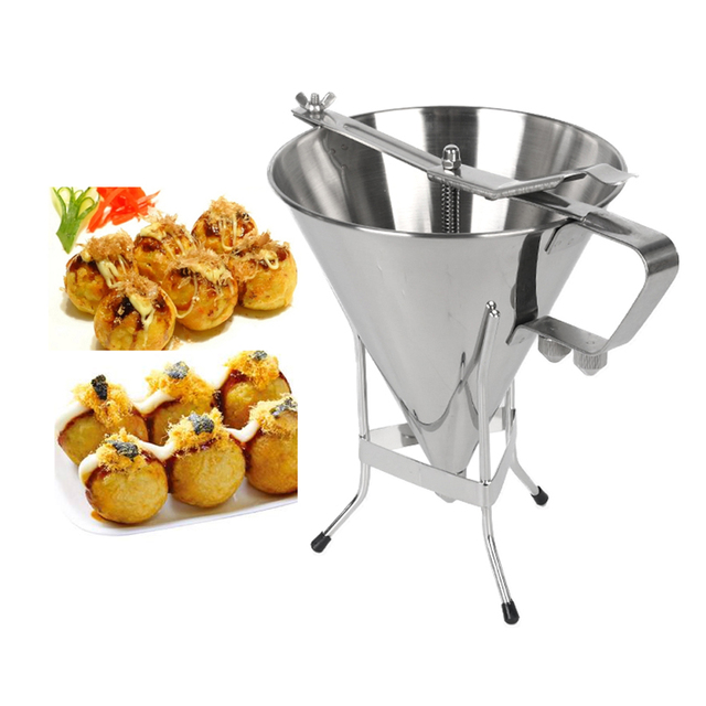 1.75L Big Stainless Steel Funnel Octopus Balls Tool With Rack Adjusting Output Size Baking Dispenser Cooking Kitchen Hopper Tool