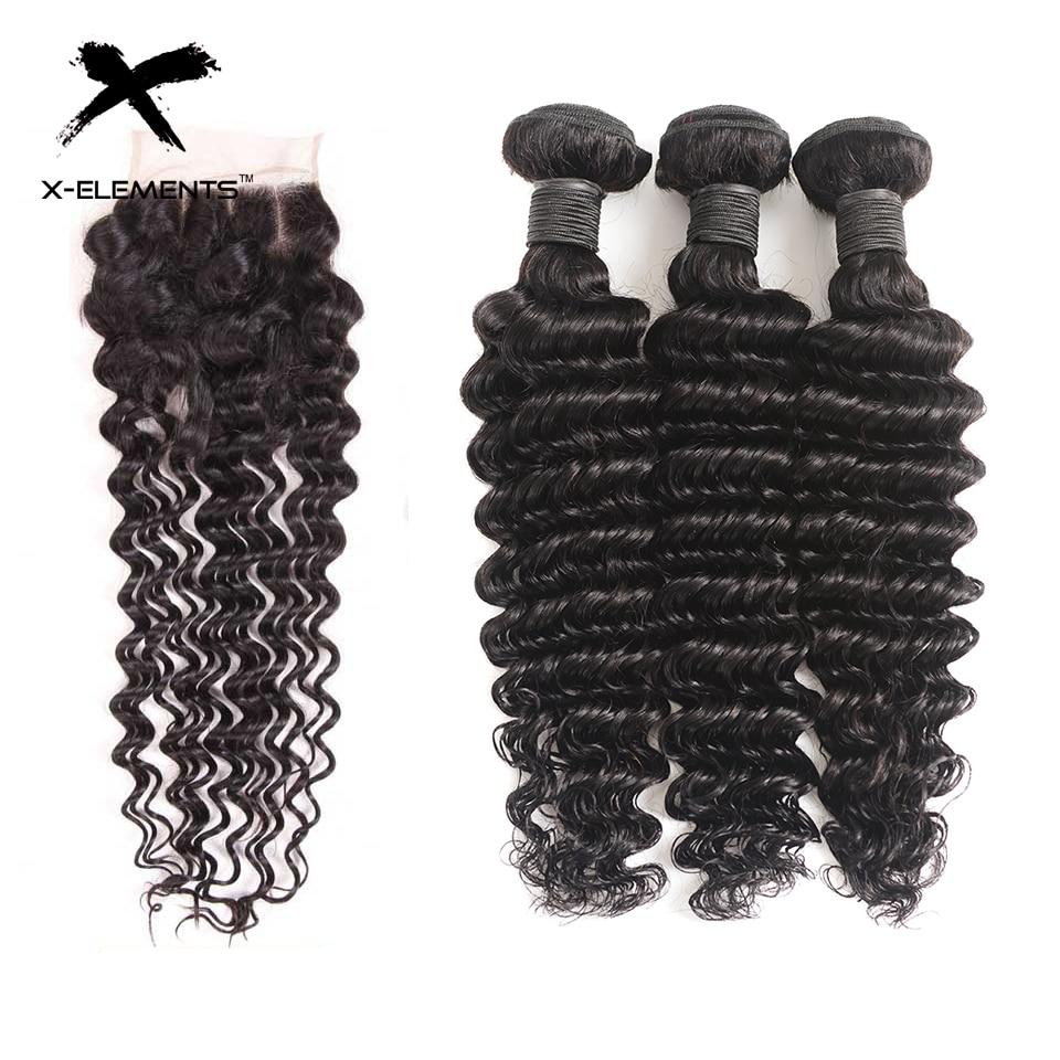Brazilian Deep Wave Bundles with Closure 100% Human Hair Extensions with Closure Non-Remy 3 Bundles with Closure X-Elements Hair (2)