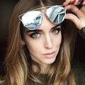 Moda Óculos De Sol Das Mulheres Gato Olho óculos de Sol Da Senhora Famosa Marca Designer Twin-Vigas óculos de Sol Revestimento de Espelho Óculos de sol UV400