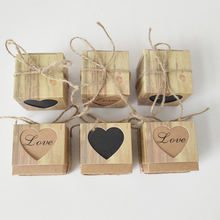 50pcs/lot Laser Cut Love Heart Candy Box Favors Gift Romantic Kraft Bag With Burlap Twine Chic Wedding Party Decoration