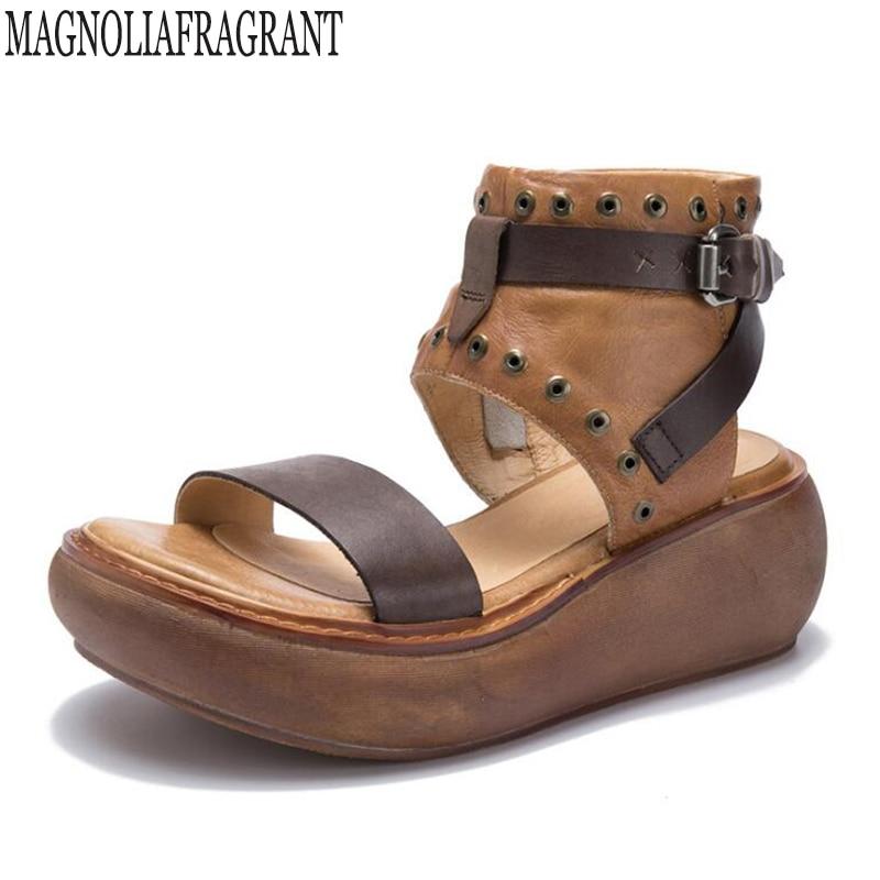 все цены на 2018 women sandals summer Vintage wedge sandals Open Toe Platform Sandalias ladies gladiator Genuine Leather sandals women c93