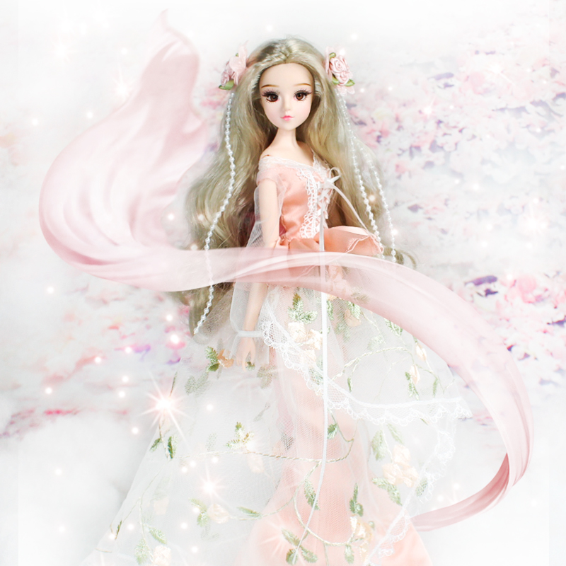 MMG Free shipping Dream Fairy BJD doll 12 constellations Cancer with flower outfit shoes stand necklace 14 joint body toy gift-in Dolls from Toys & Hobbies    1
