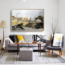 HAOCHU Modern Nordic Black White Yellow Abstract Decorative Painting Wall Mural Living Room Bedroom Bedside Poster Home Decor