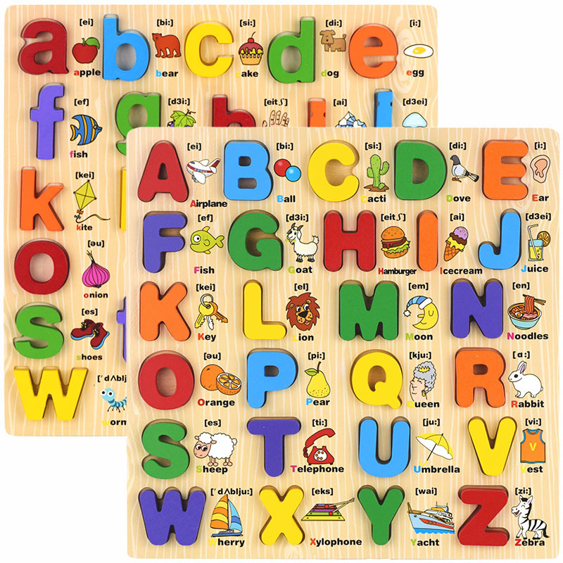 Free shipping Kids wooden classic cartoon figure puzzle toys Baby letter 3D puzzle toy Educational puzzles toys in Puzzles from Toys Hobbies
