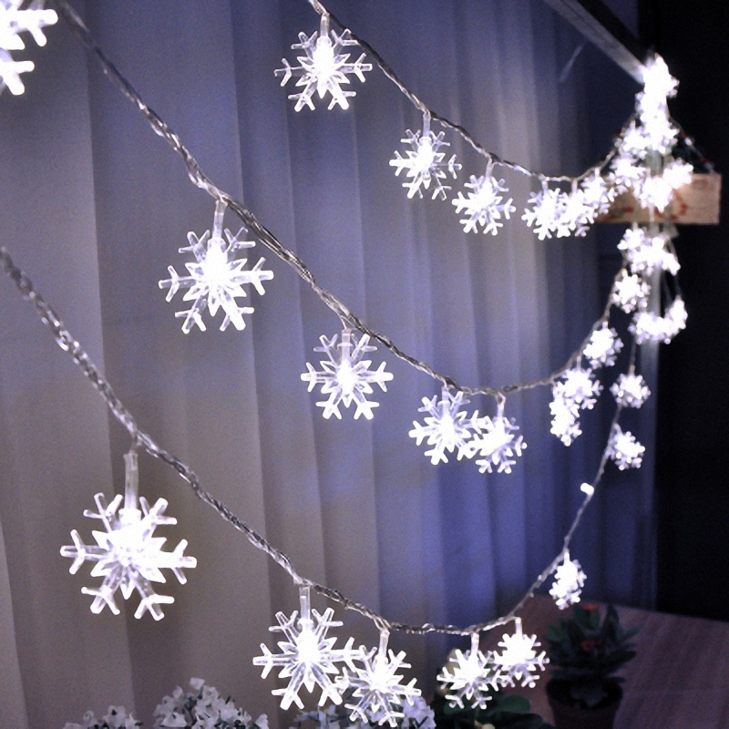 Happy New Year Winter Party Decoration White Snowflake String Lights Mini Rope Lighting Frozen Garland Garden <font><b>Outdoor</b></font> Deocr Chic