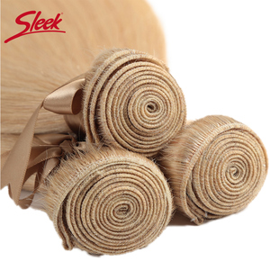 Image 4 - Sleek Remy Braziliaanse Hair Weave Bundels 10 26 Inch Straight Menselijk Haar Extension Honey Blonde # P27/16 /613 Haar Weave Bundels