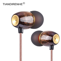 High Quality 3 5mm In Ear Earphone DIY Wooden DJ Headset Pure Wood Heavy Stereo Bass