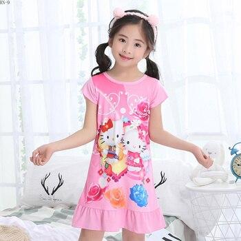 685bfffcf7 De los niños de verano camisón de manga corta de los niños de dibujos  animados pijamas delgados vestidos de niña camisón de princesa niñas  conjunto de ropa ...