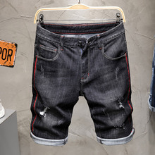 2019 Summer New Top Men Jeans Shorts,Black Color Fashion Designer Short Ripped Jeans For Men Denim Shorts Knee Length Hole Jeans slim straight hole ripped short jeans for men denim summer short men jeans new high quality cotton fashion casual new brand