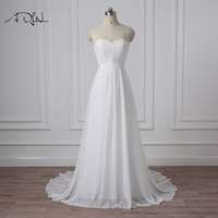 ADLN Delicate Beaded Chiffon Beach Wedding Dresses Real Photo Summer Bohemian Bridal Gowns Robe De Mariage