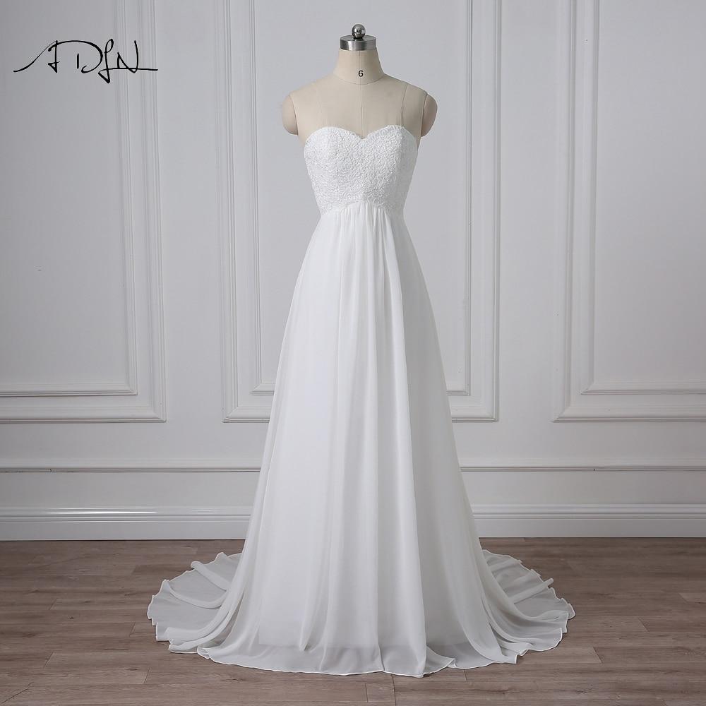 ADLN Sweetheart Empire Šifonske poročne obleke Real Photo Plus Size Poceni Boho Poročne obleke Plus Size Robe de Mariage