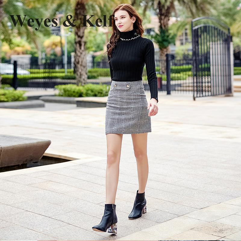 Weyes & Kelf Slim Black Warm Ruched Turtlenech Sweater Womens Winter Jumpers Long Sleeve Pulover Womens Knitwear Mujer Pull