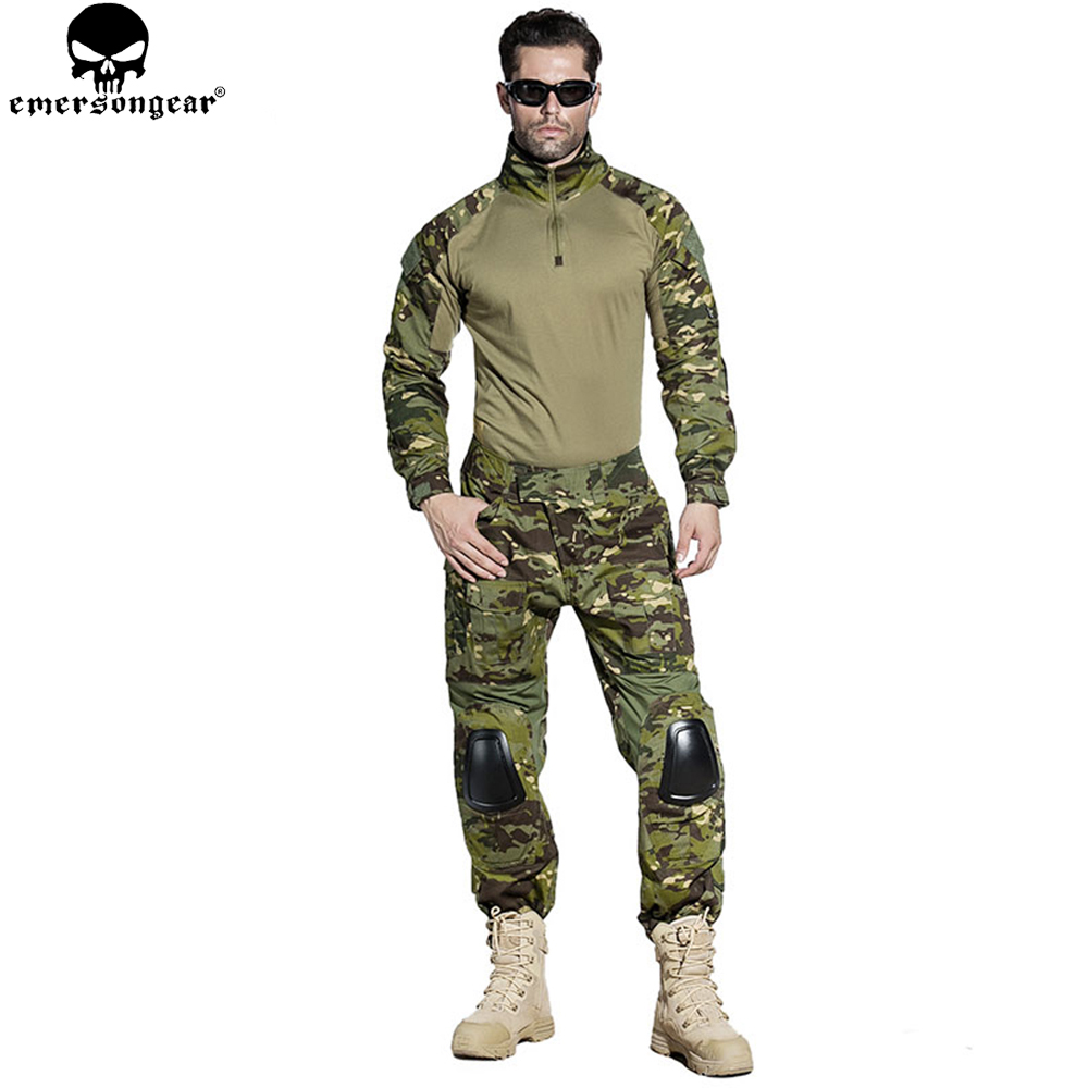 EMERSONGEAR Gen 2 BDU Airsoft Combat Uniform Training Clothing Tactical Shirt Pants with Knee Pads Multicam Tropic EM6972 emersongear gen 2 bdu airsoft combat uniform training clothing tactical shirt pants with knee pads multicam tropic em6972