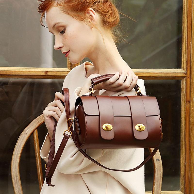 2020 New Genuine Real Leather Women Boston Messenger Shoulder Bag Female Fashion Portable Pillow Crossbody Bags Ladies Handbag