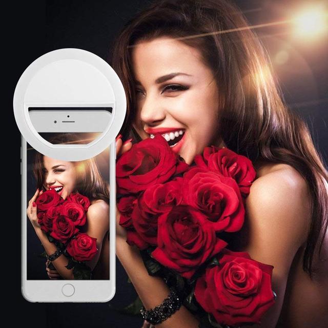 Pince FGHGF sur lumière annulaire pour appareil photo Selfie lumière de caméra LED avec 36 LED pour appareil photo de téléphone intelligent, forme ronde