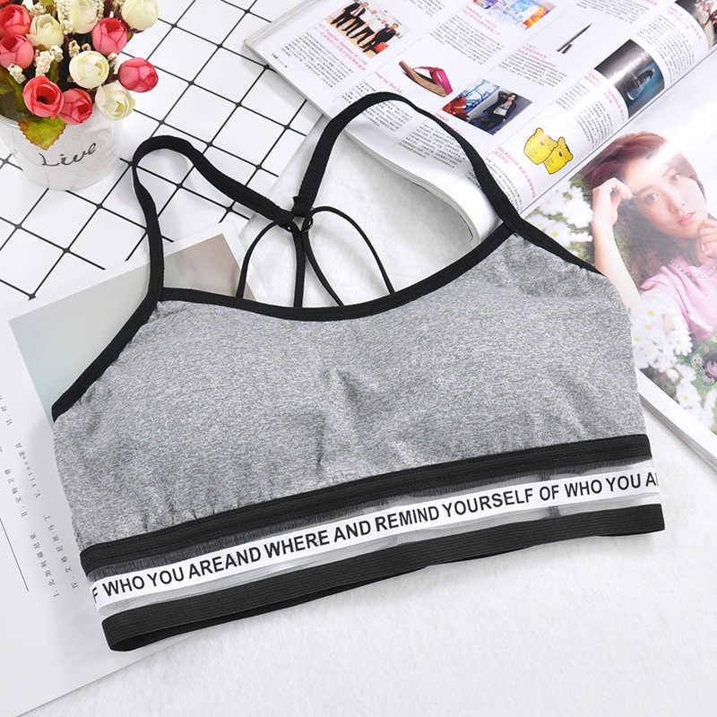Women Letter Yoga Padded Sport Shirt Shockproof Sports Push Up  Bras Breathable Athletic Fitness Running Vest Tops Gym Shirt