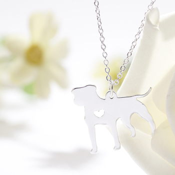 PitBull Necklace Pendant Pit Bull Heart Pendant Dog Memorial Pet Necklaces & Pendants Women Animal Charms Christmas Gift image