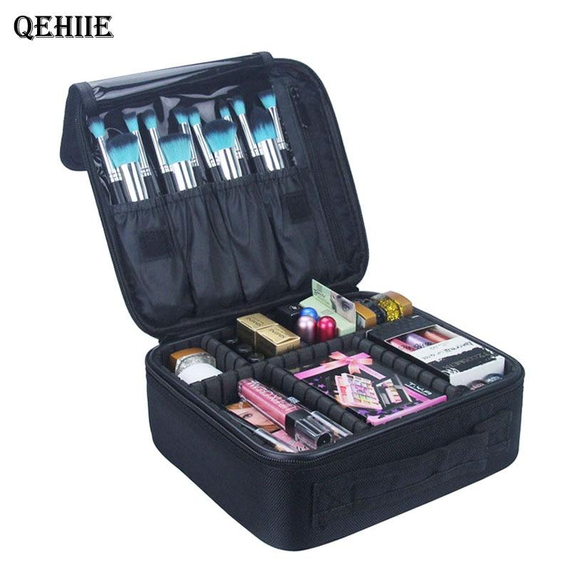 QEHIIE brand cosmetic case high quality Oxford cloth cosmetic bag travel organizer Women beautician big capacity Makeup Bag qehiie brand women s makeup box
