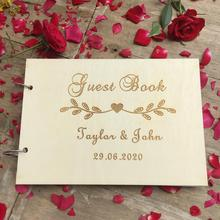 Personalised Wedding Guest Book - Gift for Couples Rustic Bridal Shower Vintage Wooden