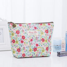 2018 Women Toiletry Cosmetic Bag Cotton Make Up Wash Bag Flower Decoration Stuff Organizer Clutch Pouch Travel Cosmetic Cases(China)