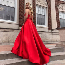 Red Prom Dress With Pockets V-neck