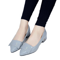 Wolf Who Women Pumps Sweet Bowknot Woman Low Heels Platform Shoes Pointed Toe Casual Stiletto Elegant