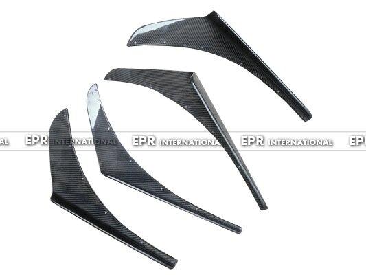 Car-styling Voltex Style Universal Fitment JDM Carbon Fiber Canard 4pcs Glossy Finish VTX Bumper Splitter Fit EVO 7 8 9 Body Kit