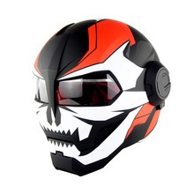 Soman 515 Iron Man Motorcycle Helmet Flip Up Verspa Ironman Skull capacetes Flip up Robot Casco DOT Approval(China)