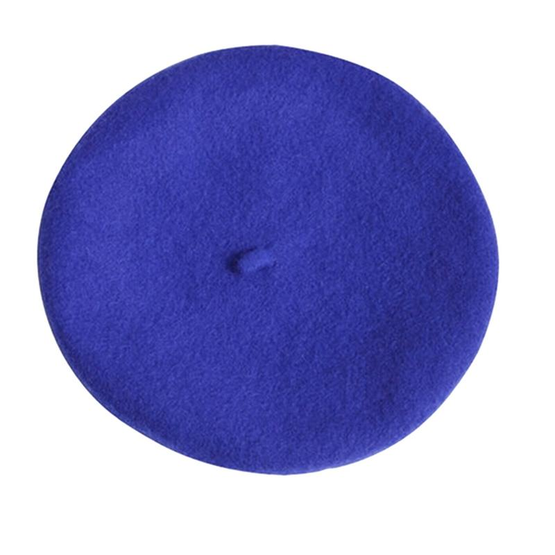 Новинка, женская зимняя шапка, берет, женская шапка из смеси шерсти и хлопка, 16 цветов, новые женские шляпы, шапка s, черная, белая, серая, розовая, Boinas De Mujer - Цвет: Sapphire