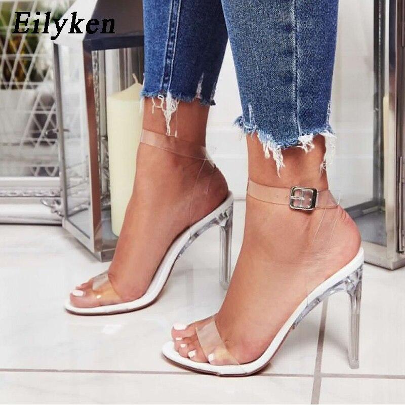 Eilyken 2020 PVC Jelly Sandals Crystal Open Toed High Heels Buckle Strap Women Transparent Heel Sandals Sexy Pumps 11CM
