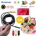 Endoscópio 8 MM Câmera Endoscopio 2EM1 USB Android Telefone HD Câmera 720 P Borescope Inspeção Endoscópio 5 M USB Endoskop câmera
