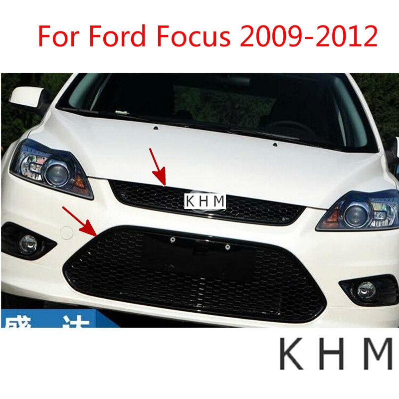 Laca de panal de ABS que hornea parrilla delantera de carreras hacia arriba y hacia abajo apta para Ford Focus 2009 2012 estilo de coche
