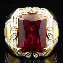 Hot Sale Large Square Red Crystal Stone Mens Ring in Cross Design Gold Tone Stainless Steel Signet Rings Modern Men Jewelry A35