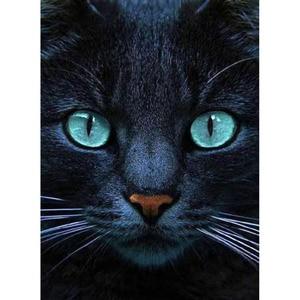 5D DIY pinturas de diamantes taladro completo redondo ojos verdes larga barba gato mosaico bordado animales patrón hecho a mano decoración del hogar