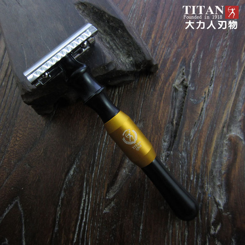 free shipping titan double edge metal handle classic shaving safety razor travel use retro aluminum straight edge shaving barber razor cut throat knife wood box set
