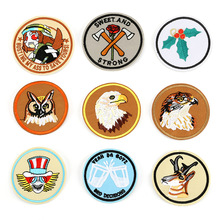 Round Animal Head Embroidery Patch for Clothing Iron on Embroidered Fabric Badge Motif Garment DIY Apparel Applique Accessories round natural embroidery patch for clothing iron on embroidered fabric badge motif garment diy apparel applique accessories