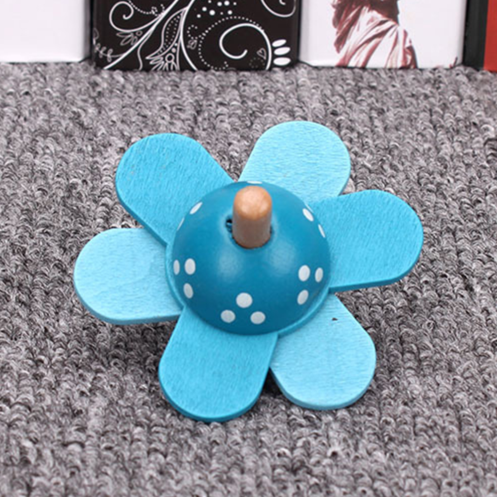 Learning Educational Top Children Gift Flower Rotate Baby Spinning Cartoon Classic Educational Toy Non-toxic Wooden Toy Kids