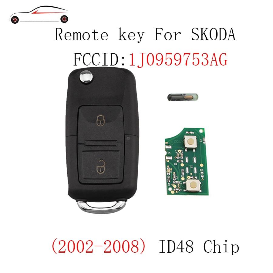 GORBIN 434Mhz ID48 Chip Remote Key for SKODA Fabia Superb Octavia I 2002-2007 1JO 959 753 AG Key 2Buttons for SKODA 753AG 753AG