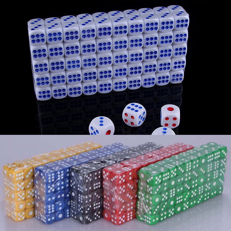 10pcs 14mm Opaque Colorful Poker Chips Dice Six Sided Spot Fun Board Game Dice D&D RPG Games Party Dice Gambling Game Dices