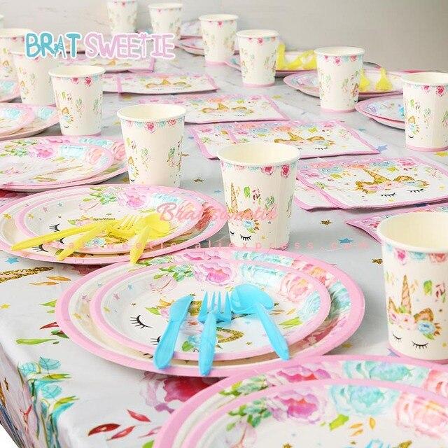 Единорог вечерние одноразовой посуды, флаг гирлянды-флажки детские для девочек 1st день рождения тема Праздничная тарелка скатерть