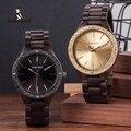 Мужские часы BOBO BIRD  стильные деревянные кварцевые часы с золотым циферблатом