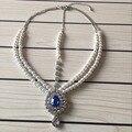 Artesanal Kundan pedras de cor azul & pearl cabelo cadeia cabeça jóias festa de casamento estilo Grego