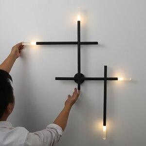 Image 5 - Modern Nordic เหล็กท่อ LED โคมไฟข้างเตียง Night Light ห้องนอนห้องนั่งเล่น Aisle Sconce โคมไฟติดผนัง Decor ART