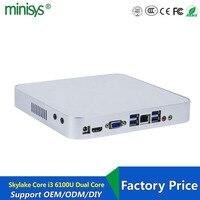 New Nettop Pc Skylake I3 6100u Dual Core One Lan HTPC Mini Desktop Computer Office 4K